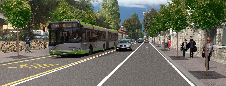 corsie preferenziali metrobus Bolzano