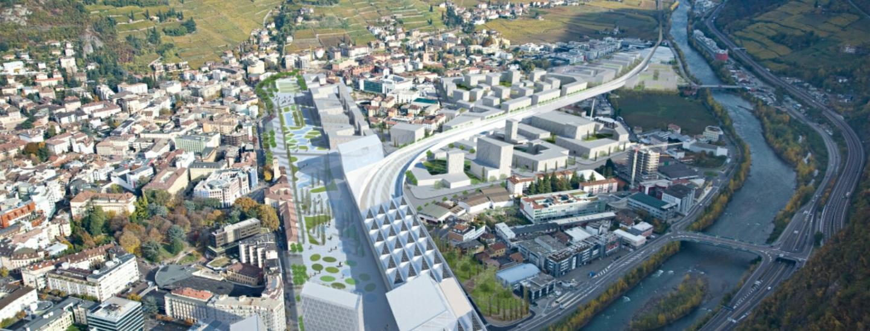 Il rendering dell'areale ferroviario di Bolzano
