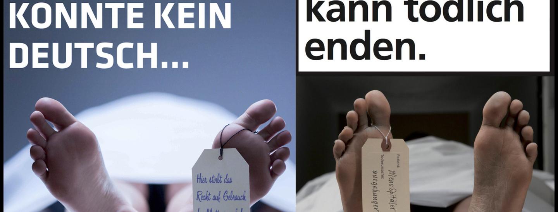 Leichenfüße auf Plakaten