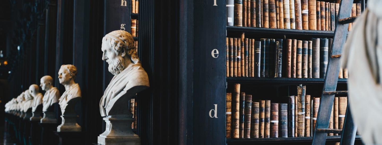 Corte dei conti, libreria, busti