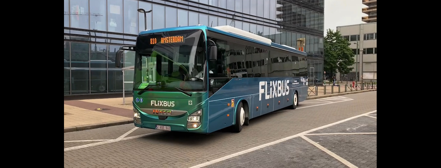 First biomethane bus on the road from Brussels to Amsterdam on 1 July 2021.