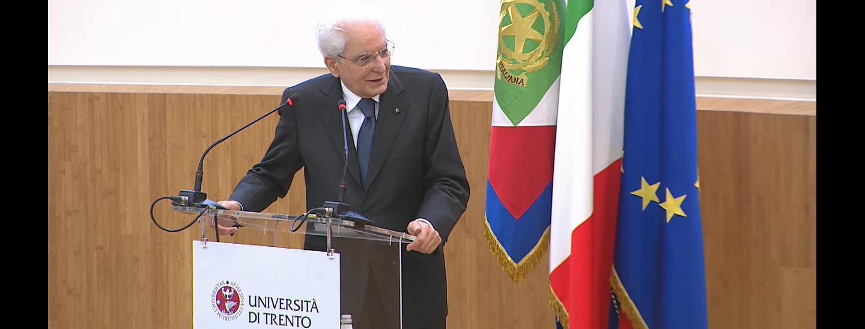 Sergio Mattarella all'auditorium del Palazzo Paolo Prodi di Trento