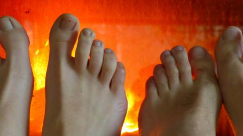 Füße aufwärmen