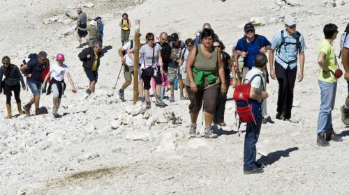 Touristen am Berg