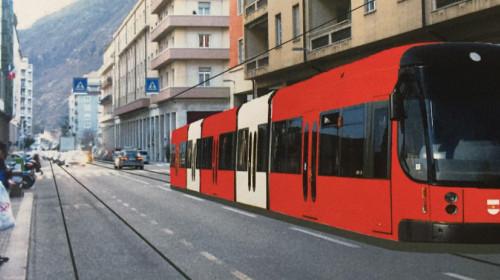 Tram in der Stadt