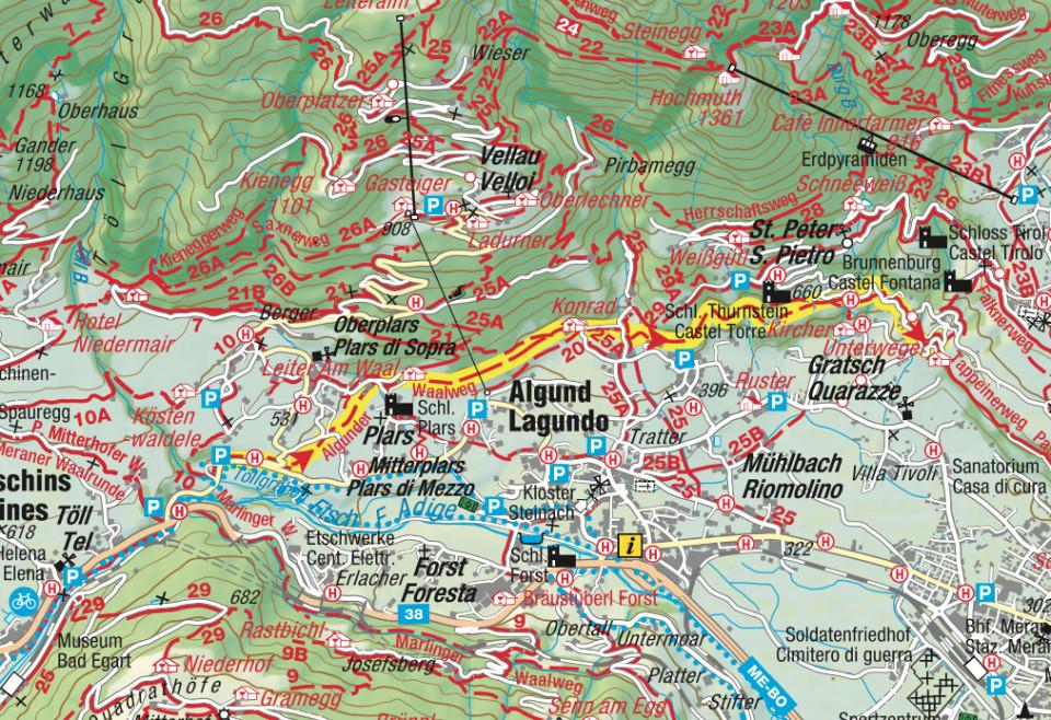 Karte Algunder Waalweg