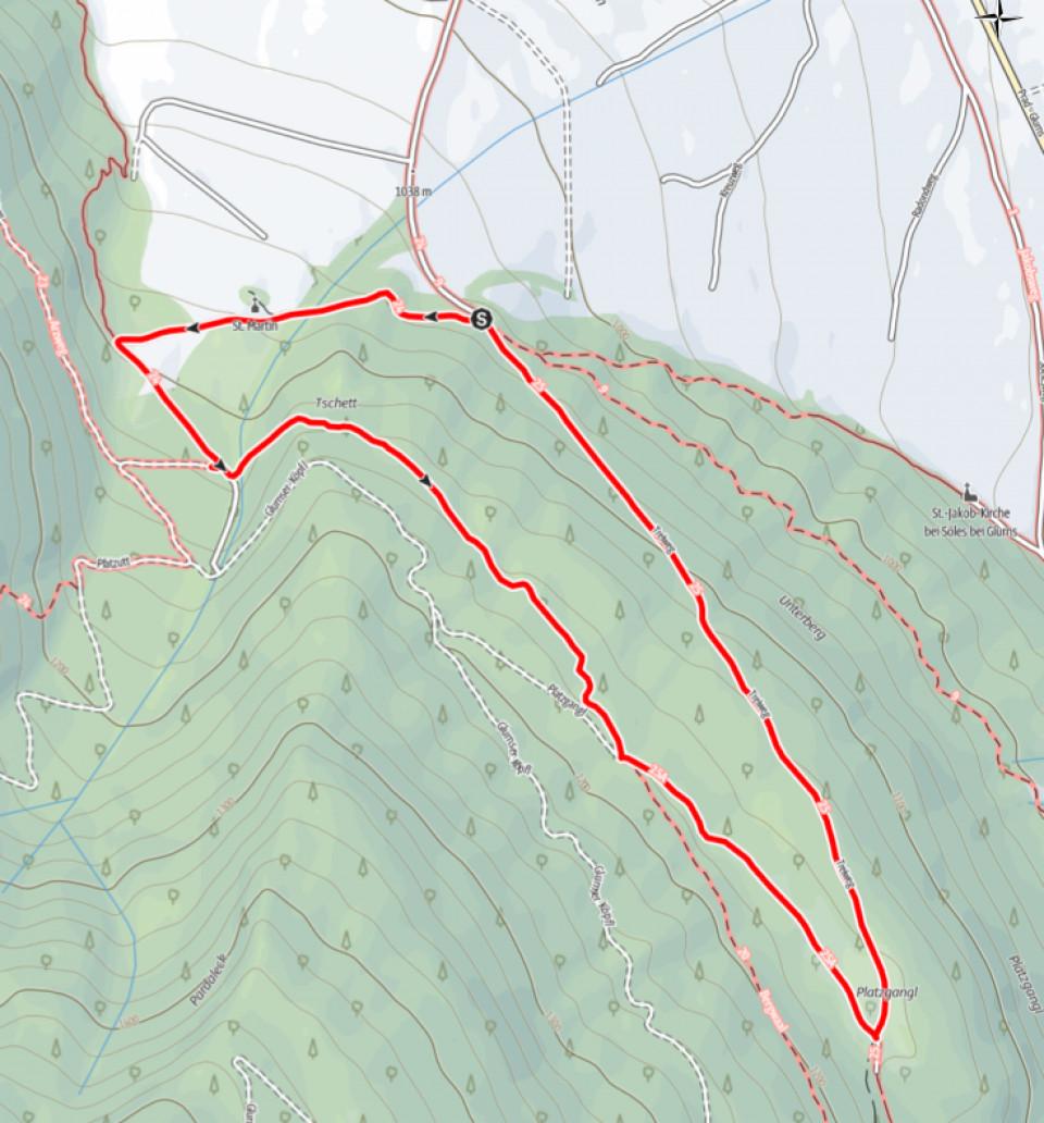 Kartenausschnitt Bergwaal Glurns