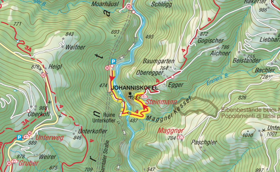 Kartenausschnitt Steinmann-Johanneskofel