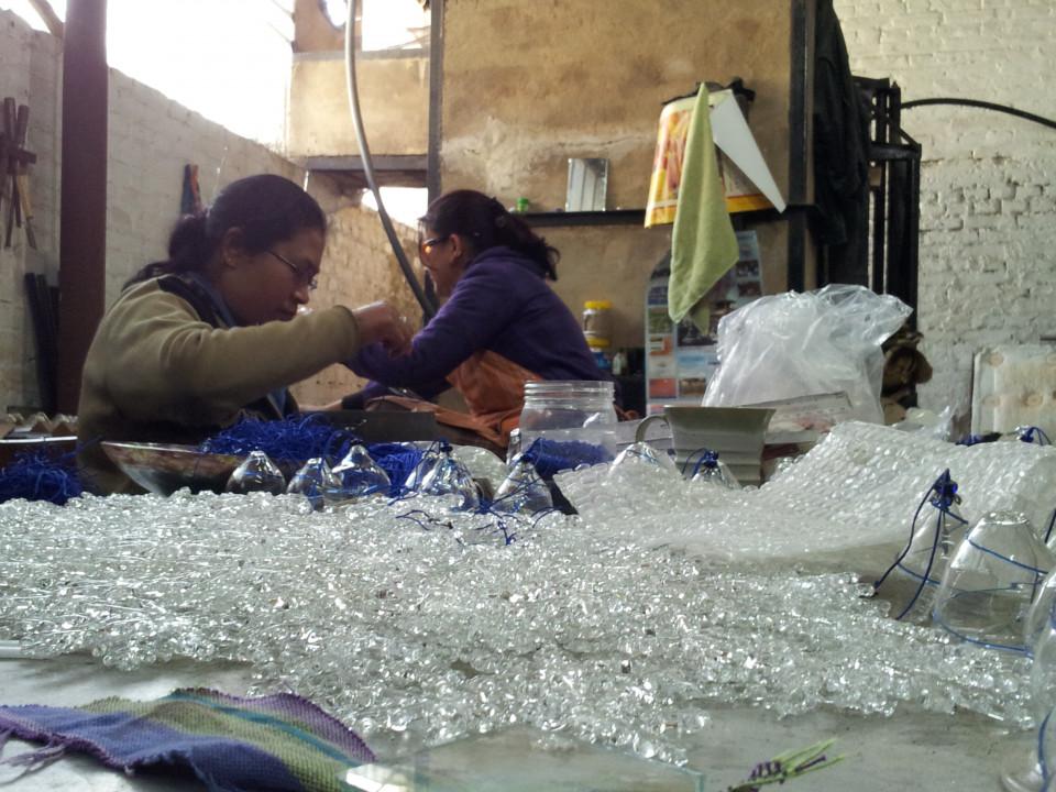 Produzione di oggetti di vetro
