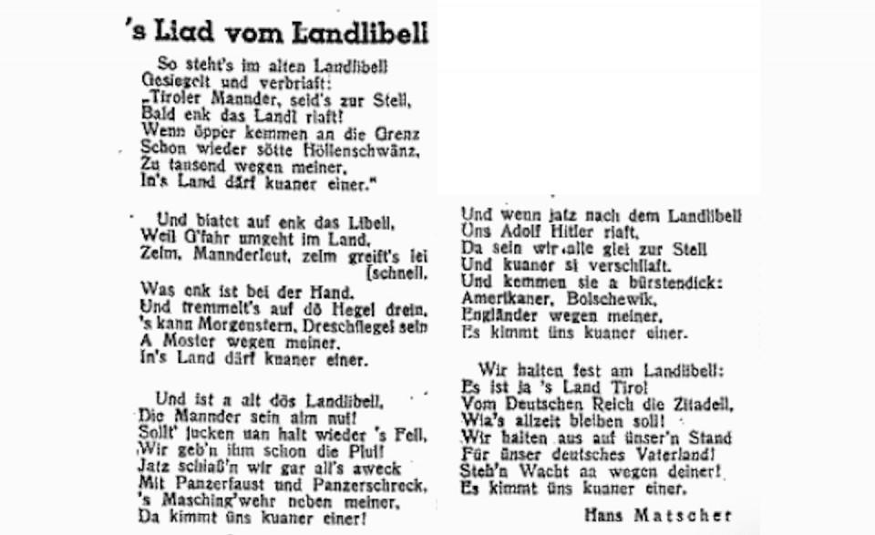 Hans Matscher – Lied vom Landlibell