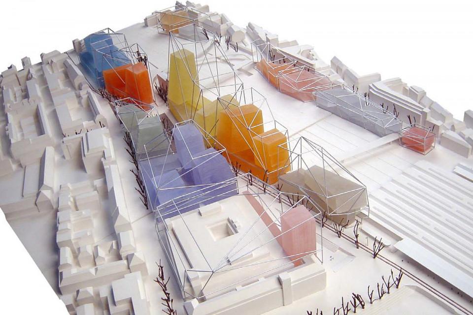 Modell der Europallee Zürich, Gebäudesilouette aus dem Masterplan und Baukörper aus den Architekturwettwerben