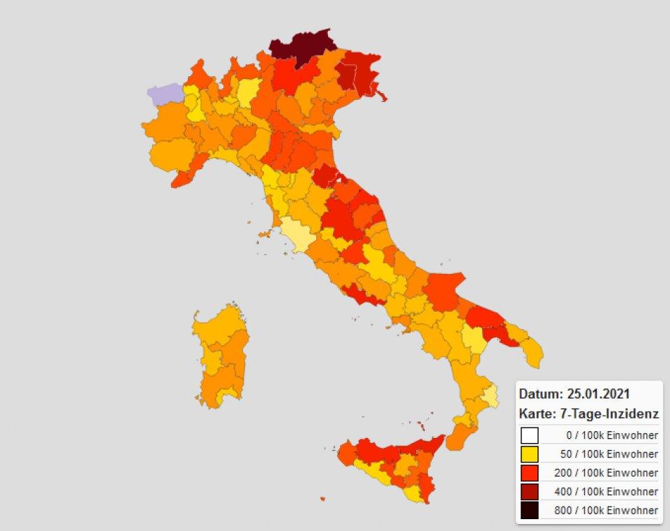 7-Tage-Inzidenz Provinzen Italien