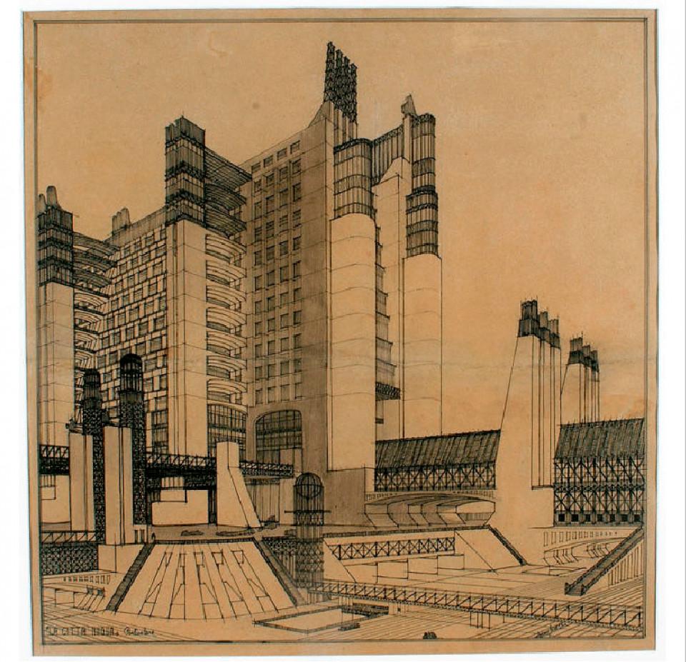 Antonio Sant Elia, Skizze für ein Hochhaus mit externen Liften, 1914