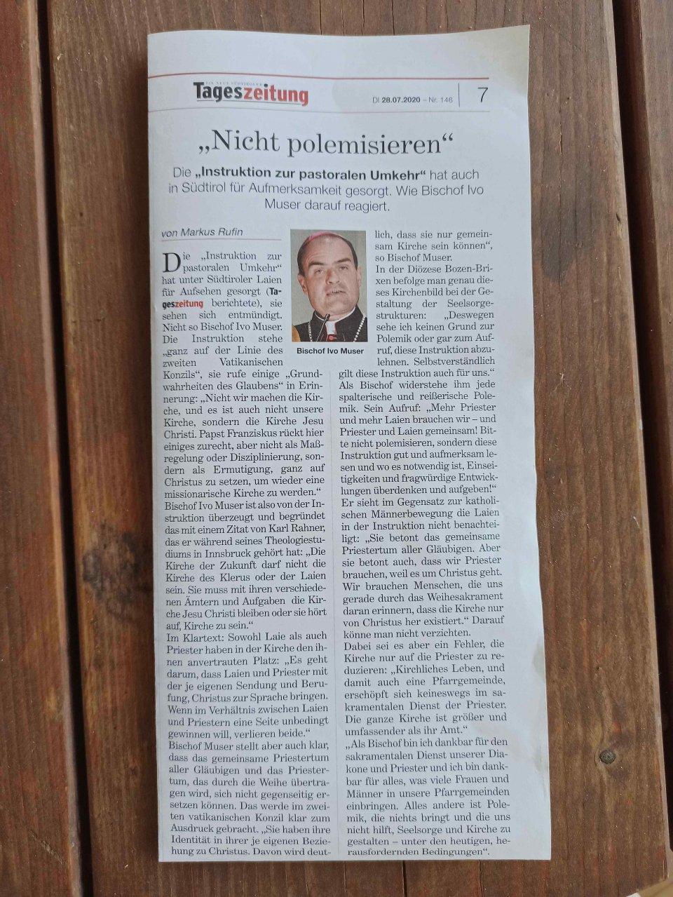 Artikel Tageszeitung 28. Juli 2020