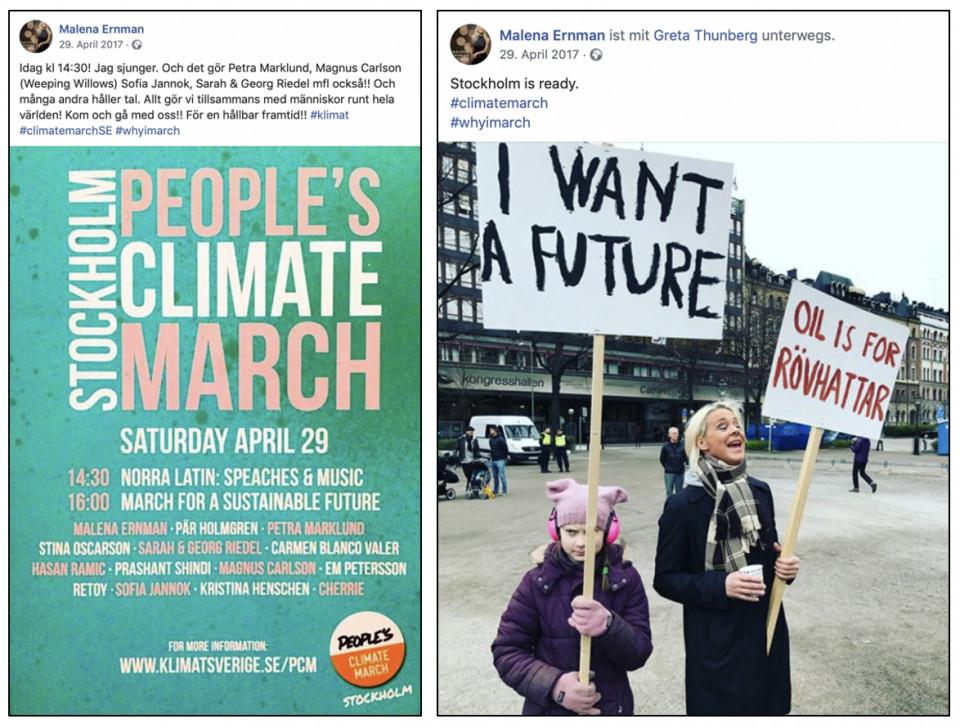 Frau Ernman und Tochter Greta (!) üben das Demonstrieren bereits im April 2017