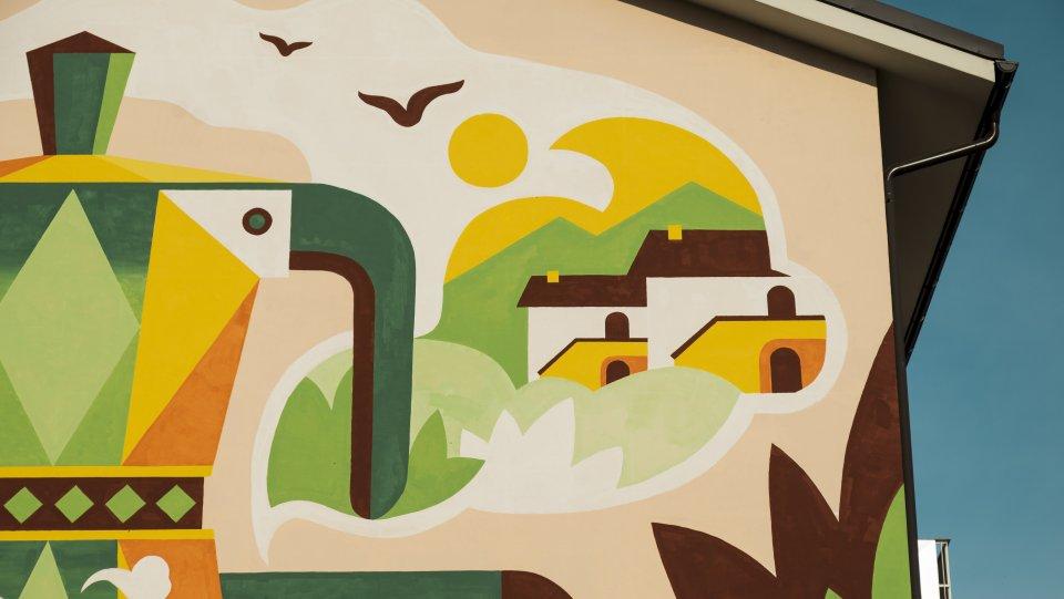 Le case semirurali rappresentate nel murales