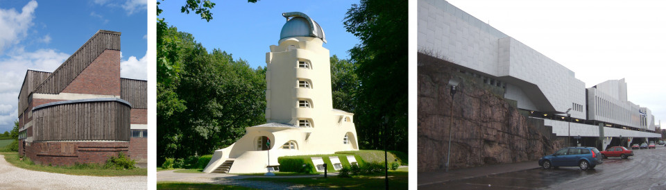 Gut Garkau: Hugo Häring 1926; Einsteinturm, Erich Mendelsohn 1922; Finlandia Halle, Alvar Aalto