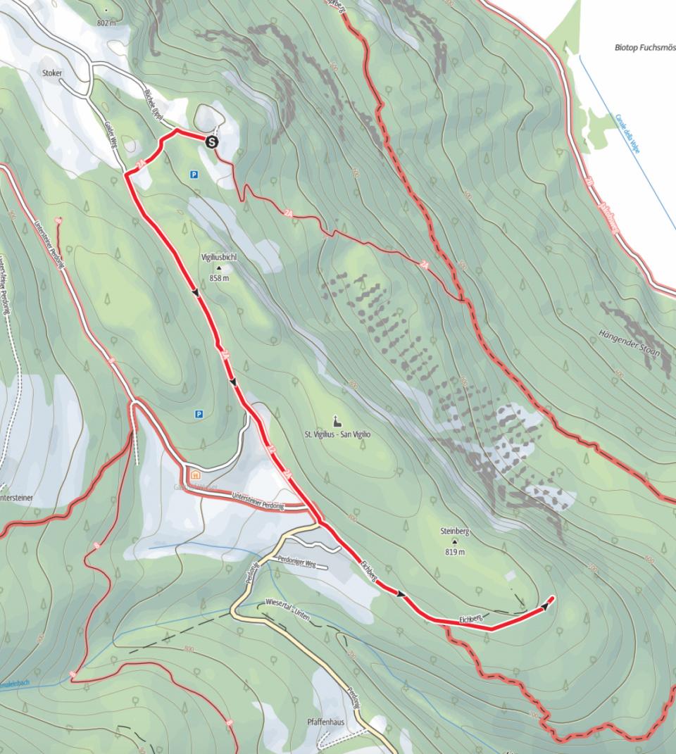 Wanderkarte: Zum Gasthof Lipp in Perdonig