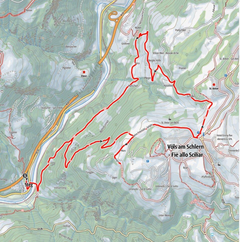 Kartenausschnitt Atzwang-Steg-Völser Ried