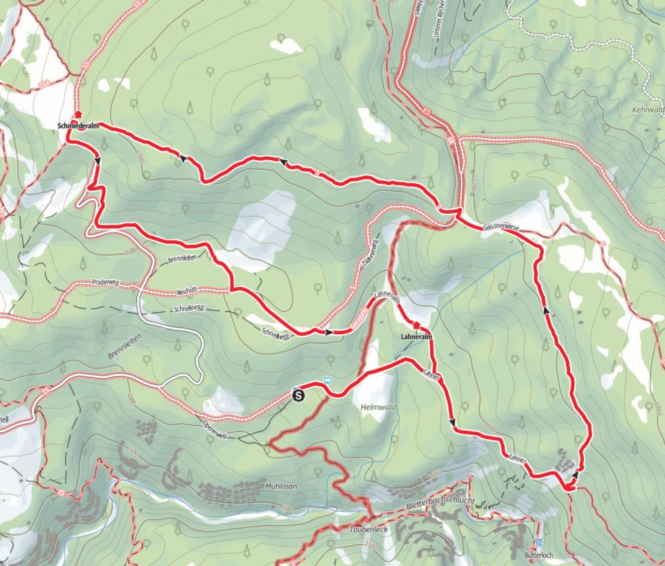 Wanderkarte zur Lahneralm an der Bletterbachschlucht