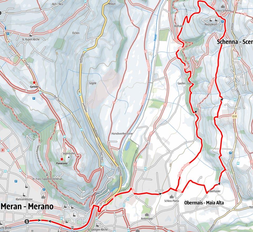 Kartenausschnitt Meran-Schenna