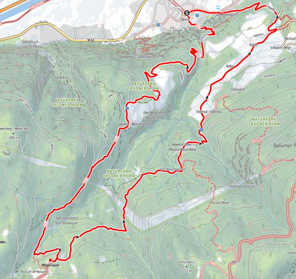 Kartenausschnitt Rifugio Sauch