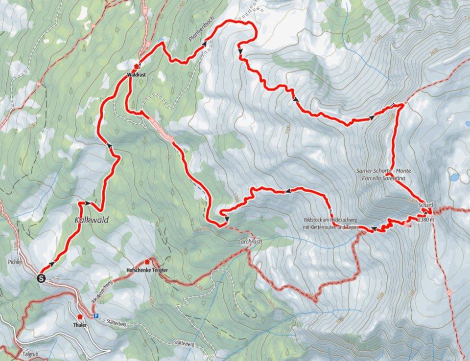 Karte Sarner Scharte