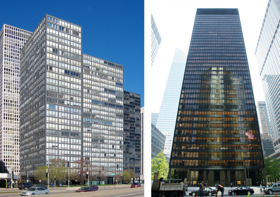 Mies van der Rohe: Lake Shore Drive Appartments 1951 & Seagram Building 1958