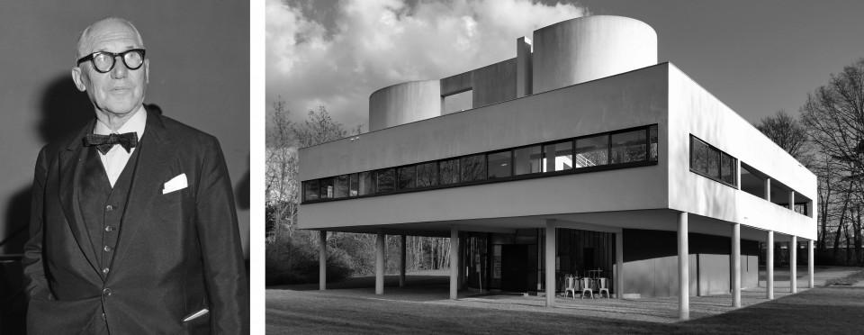 Portrait von Le Corbusier & Ansicht der Villa Savoye, Poissy 1931