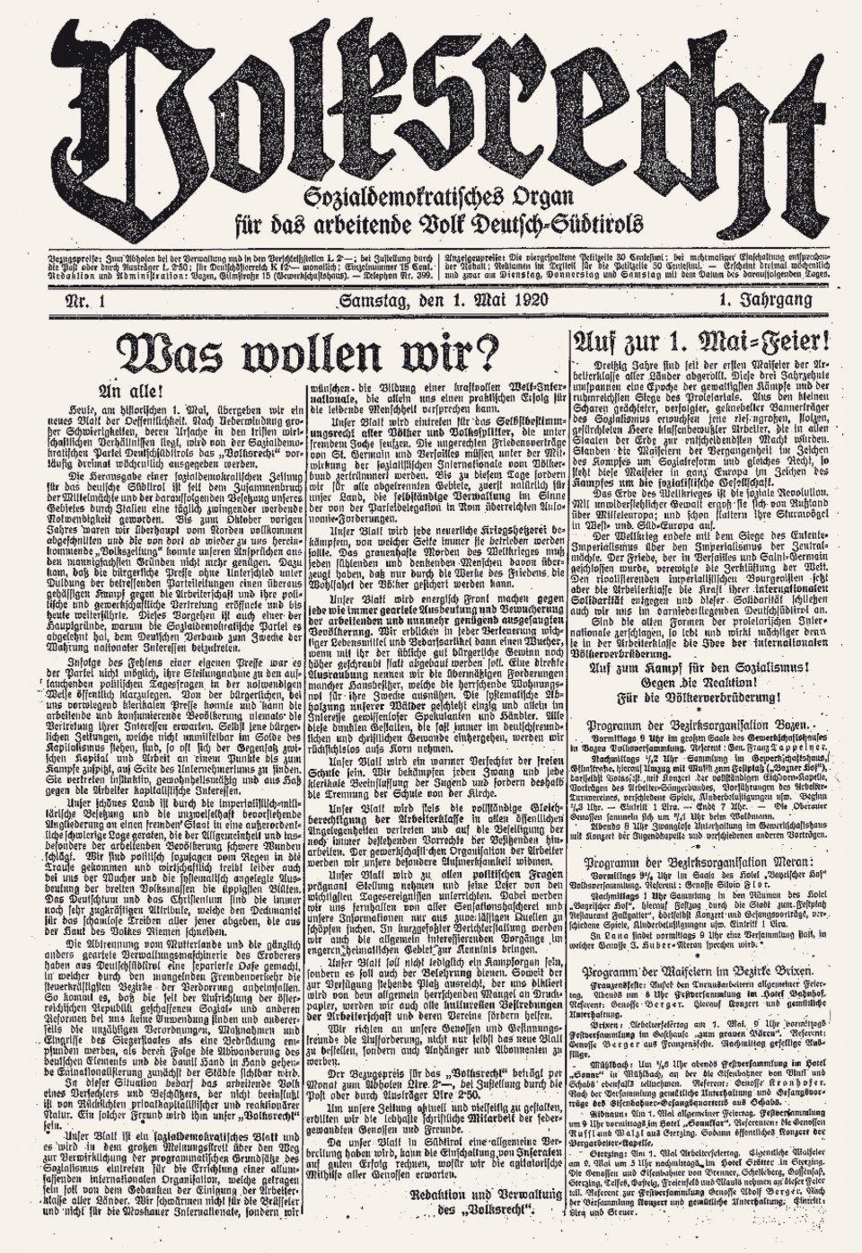 Erste Ausgabe der Zeitung »Volksrecht« vom 1. Mai 1920: Es geht um Rechte für alle.