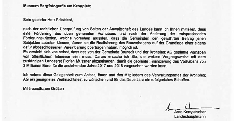 Arno Kompatscher schreibt an Werner Schönhuber