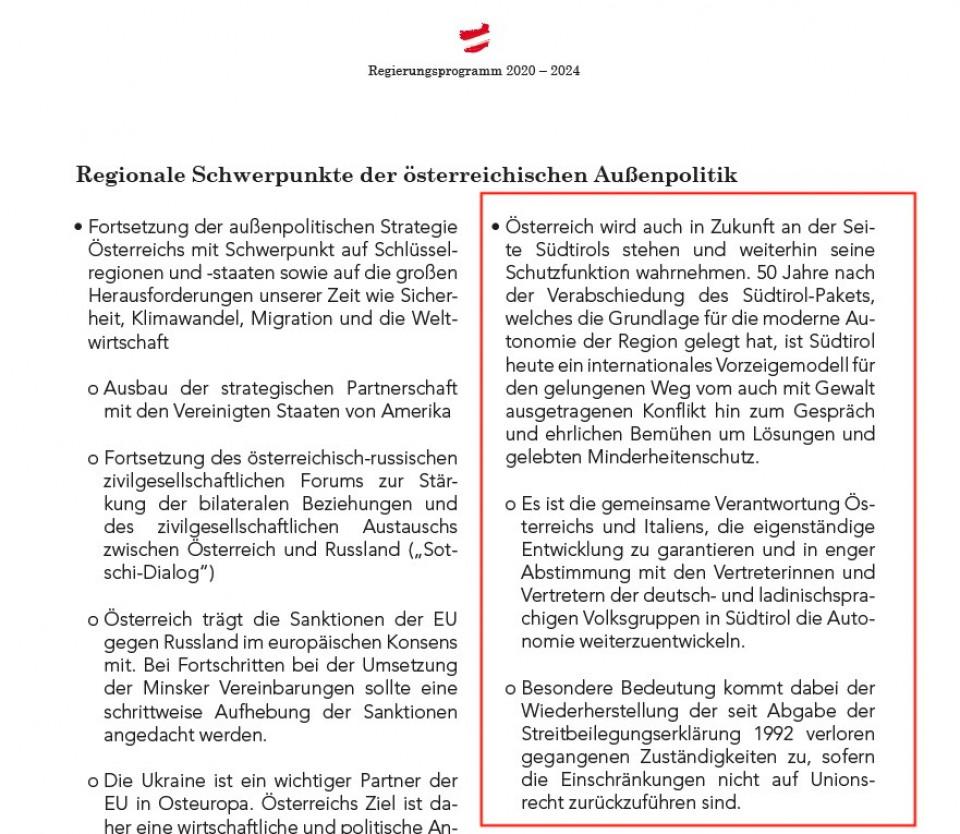 Südtirol Regierungsprogramm ÖVP-Grüne