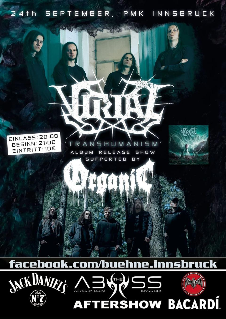 Der Flyer zum Release-Konzert von Virial in Innsbruck