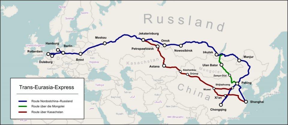 "Bildquelle: Wikipedia: Pechristener (https://commons.wikimedia.org/wiki/File:Trans-Eurasia-Express.png), ""Trans-Eurasia-Express "", https://creativecommons.org/licenses/by-sa/2.0/legalcode"