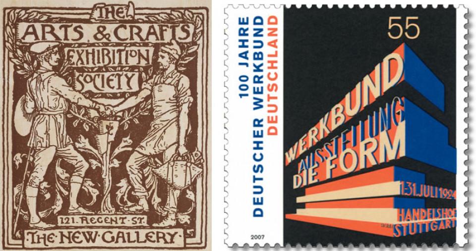 Arts&Crafts Logo, Werkbund-Ausstellung Briefmarke