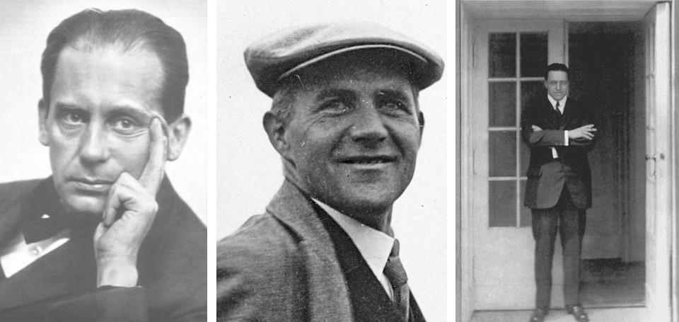 Die drei Bauhaus-Direktoren Walter Gropius, Hannes Meyer und Mies van der Rohe
