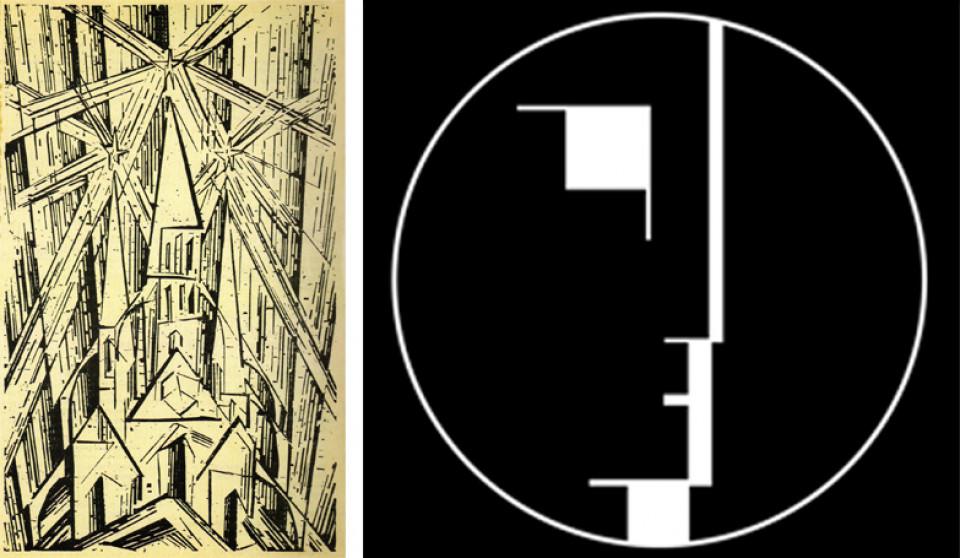 Deckblatt des Bauhaus Manifestes & Bauhaus Logo