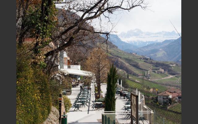 Dolomitenblick von der Terrasse vom Hotel-Restaurant Eberle