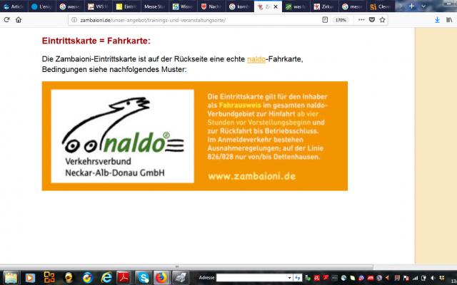 Kombiticket für den Tübingen Kinder und Jugendzirkus Zambaioni des Verkersverbunds Neckar Alb Donau