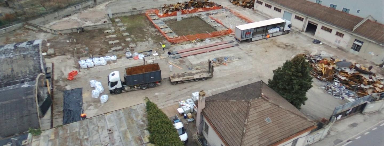 veduta dall'alto del cantiere Syndial-Eni di via Macello - dicembre 2018