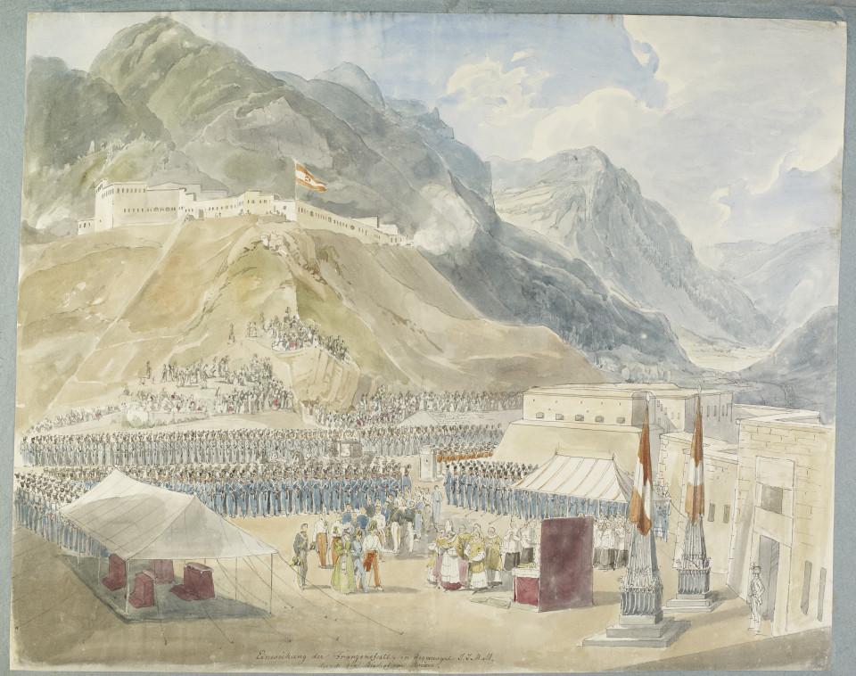 Inaugurazione del Forte di Fortezza - Aquarello di Eduard Gurk 1838